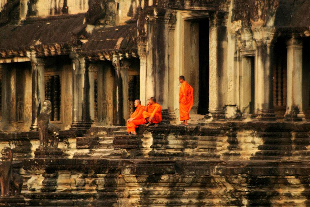 Buddhist Monks By Phnom Bakeng Temple